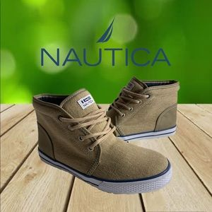 Nautica Canvas high top lace up tan sneakers